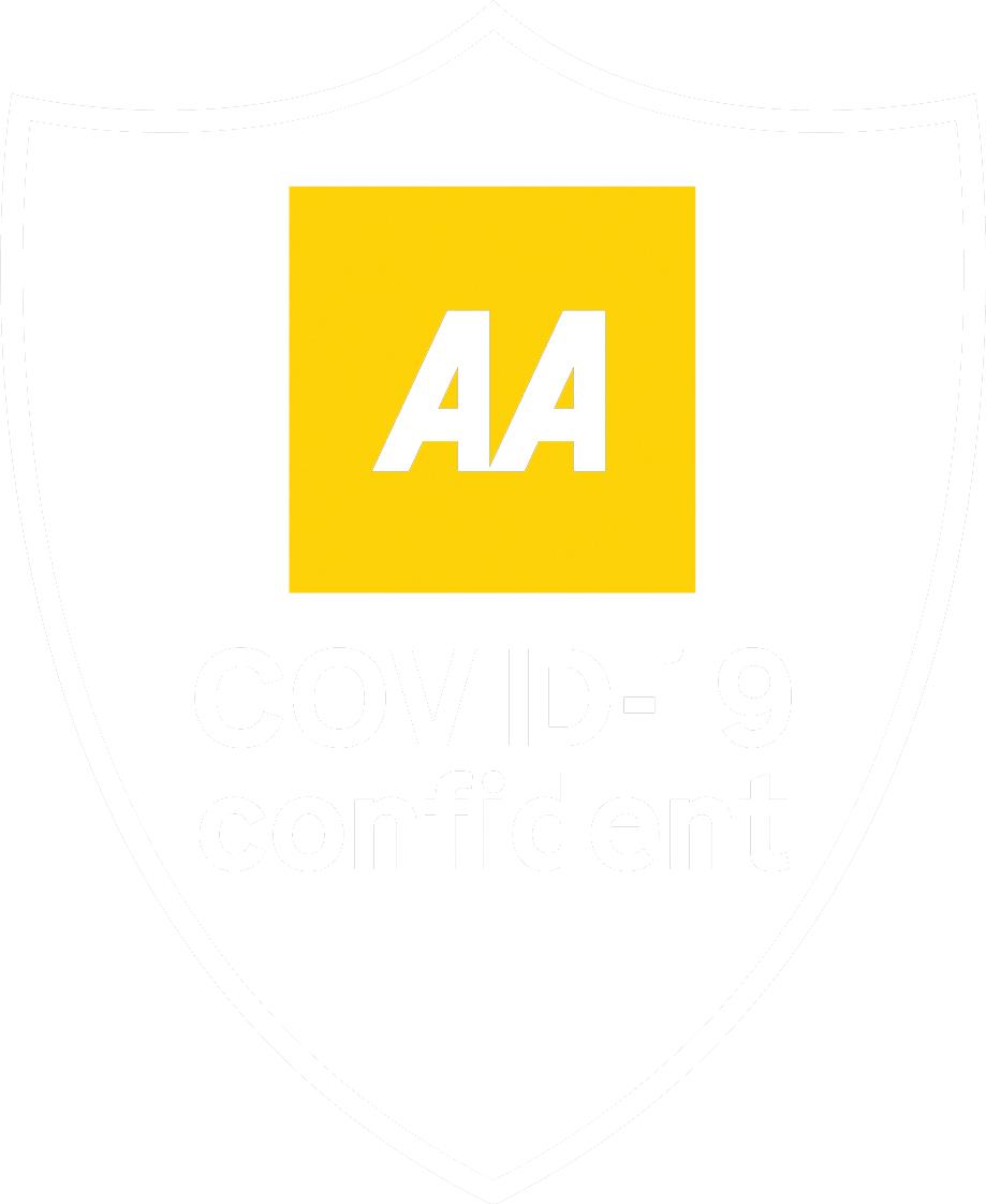 AA COVID Confident logo white